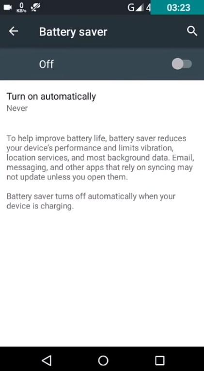 Trun off battery saver option