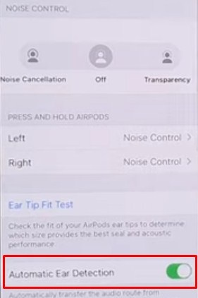 Disable Automatic Ear Detection Setting