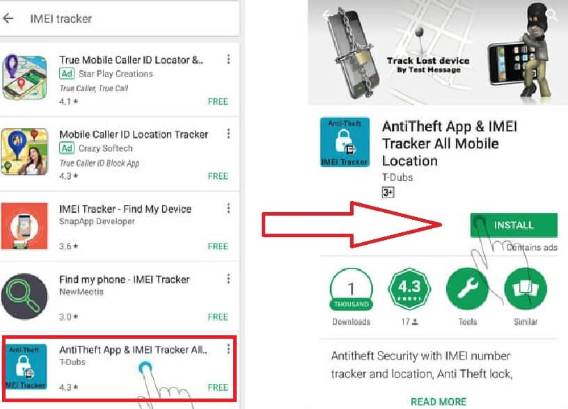 Track lost Android phone using the IMEI number for free with current location online