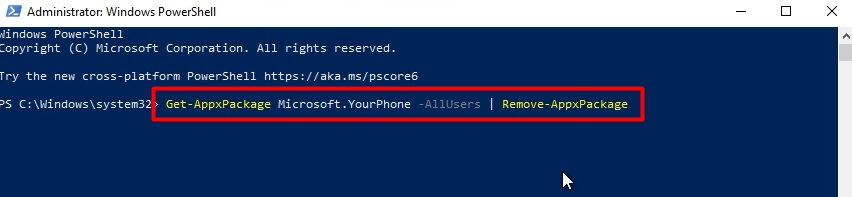 How to Remove Your Phone EXE App from windows 10