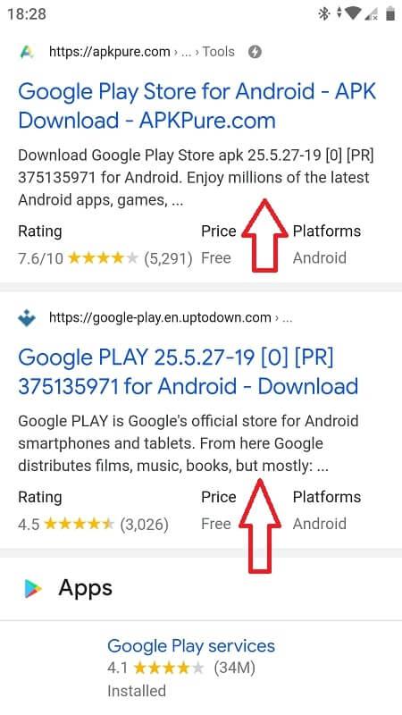 Install a APK Google app
